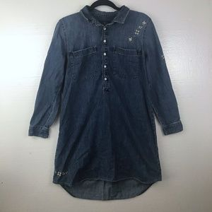 Lucky Brand Sz L Floral Popover Dress Chambray